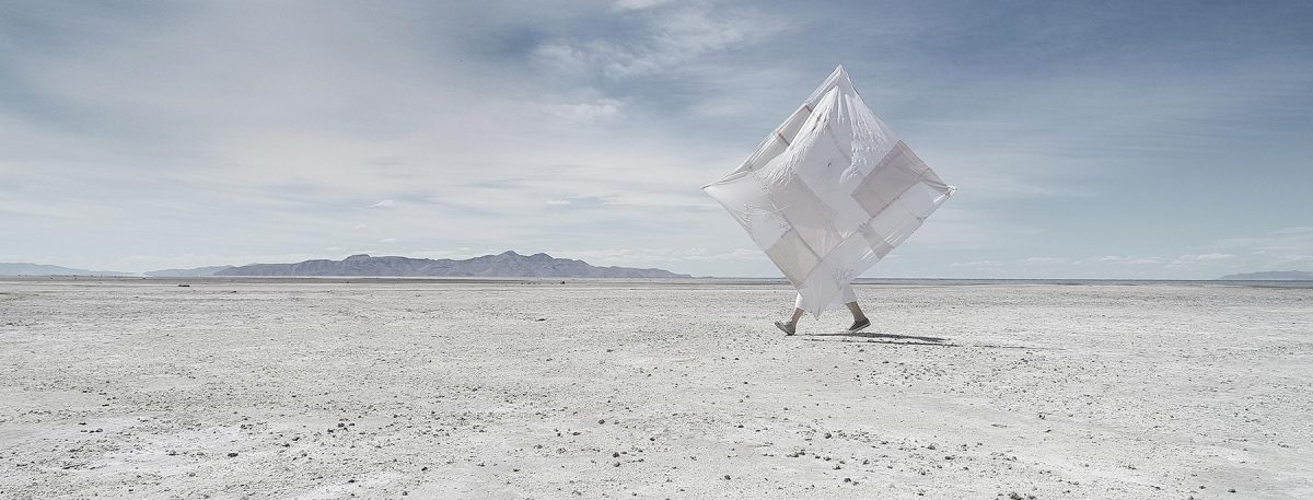 Artist Beth Krensky on the shores of the Great Salt Lake.